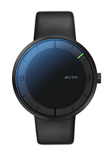 Botta Design NOVA Carbon Einzeigeruhr Edelstahl schwarzes Zifferblatt All Black Lederband