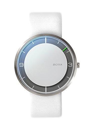Botta Design NOVA titan Armbanduhr Einzeigeruhr Titan weisses Zifferblatt Lederband
