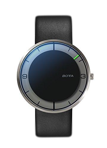 Botta Design NOVA titan Armbanduhr Einzeigeruhr Titan schwarzes Zifferblatt Lederband