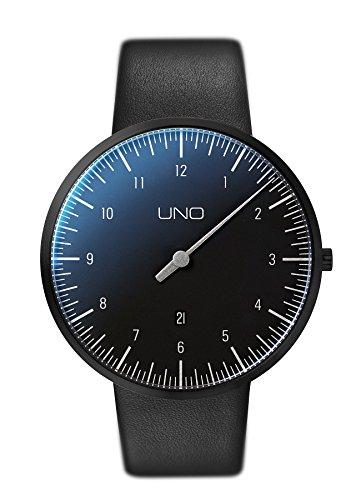 Botta Design UNO Armbanduhr Einzeigeruhr Edelstahl schwarzes Zifferblatt Black Edition Datum Lederband