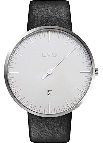 Botta Design UNO Jubilaeumsedition Armbanduhr Einzeigeruhr Edelstahl perlweisses Zifferblatt Datum Lederband