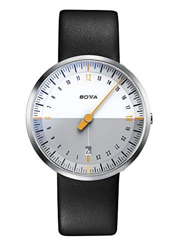 Botta Design UNO 24 NEO Armbanduhr 24H Einzeigeruhr Edelstahl weisses Zifferblatt Lederband