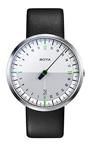 Botta Design UNO 24 NEO weiss gruen Armbanduhr 24H Einzeigeruhr Edelstahl Saphirglas Antireflex Lederband