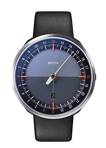 Botta Design UNO 24 Plus schwarz orange Armbanduhr 24H Einzeigeruhr Edelstahl Saphirglas Antireflex Lederband
