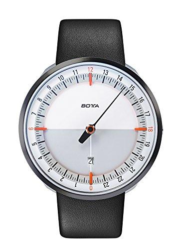 Botta Design UNO 24 Plus weiss orange Armbanduhr 24H Einzeigeruhr Edelstahl Saphirglas Antireflex Lederband