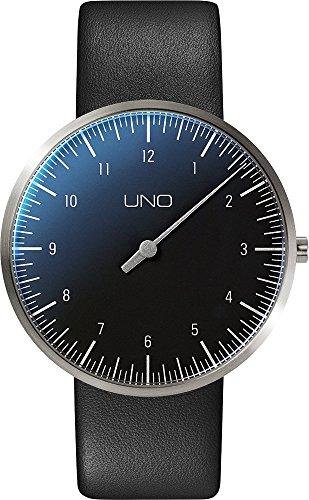 Botta Design UNO titan Armbanduhr Einzeigeruhr Titan schwarzes Zifferblatt Lederband
