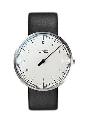 Botta Design UNO titan Armbanduhr Einzeigeruhr Titan weisses Zifferblatt Lederband