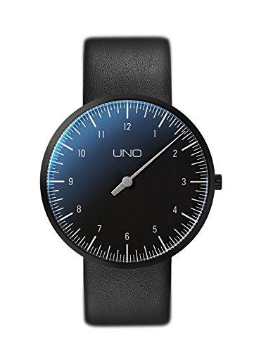 Botta Design UNO titan Black Edition Armbanduhr Einzeigeruhr Titan schwarzes Zifferblatt Lederband
