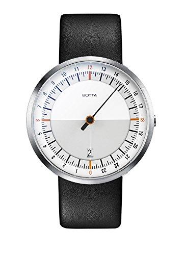 Botta Design UNO 24 weiss orange Armbanduhr 24H Einzeigeruhr Edelstahl Saphirglas Antireflex Lederband