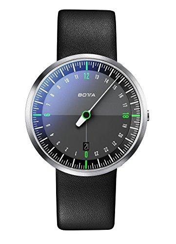 Einzeiger Armbanduhr Quarz UNO 24 NEO Botta Design Einzeigeruhr 24 h fuer Herren mit 24 Stunden Zifferblatt Uhr aus Edelstahl schwarzes Ziffernblatt Saphirglas Antireflex Lederband