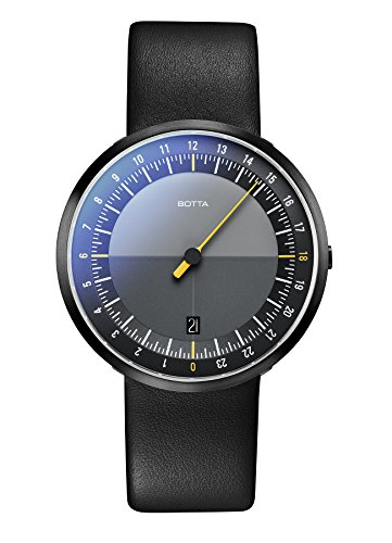 Einzeiger Armbanduhr UNO 24 Black Edition von Botta Design Einzeigeruhr 24 Stunden fuer Herren mit 24h Ziffernblatt Uhren aus Edelstahl schwarzes Ziffernblatt Saphirglas Antireflex Lederband