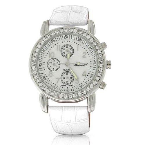 Bling Jewelry Genf Rund Weiss Leder Armband Edelstahl zurueck Watch