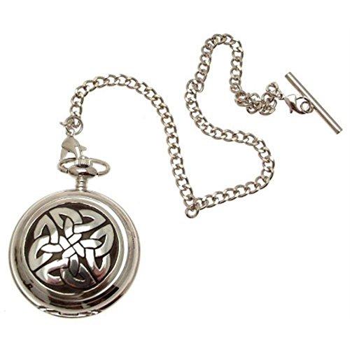 Gravur enthalten keltische Knoten Taschenuhr Zinn am Perlmutt Quarz Mechanismus Design 68