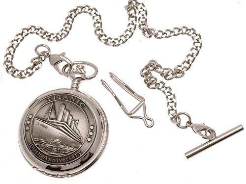 Gravur enthalten Titanic Taschenuhr Zinn am Perlmutt Quarz Mechanismus Design 64