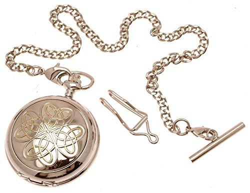 Gravur enthalten aus Zinn am Zwei Ton verschlungene Liebesknoten Design 9 Perlmutt Quarz Taschenuhr