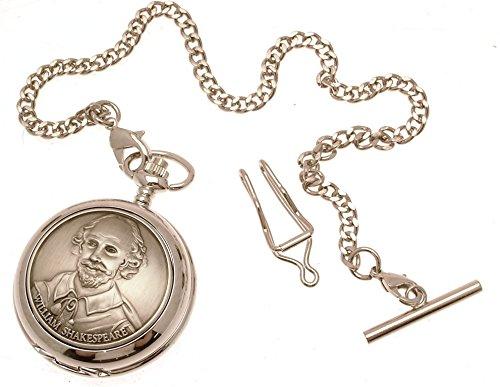 Gravur enthalten aus Zinn am William Shakespeare Design 57 Perlmutt Quarz Taschenuhr