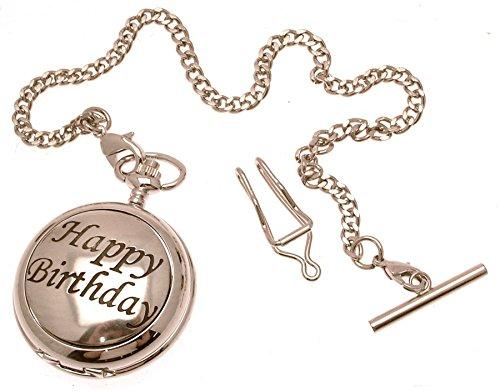 Gravur enthalten aus Zinn am Happy Birthday Design 55 Perlmutt Quarz Taschenuhr