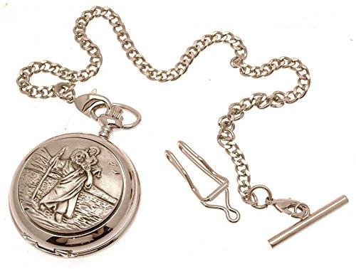 Gravur enthalten aus Zinn am St Christopher Design 36 Perlmutt Quarz Taschenuhr