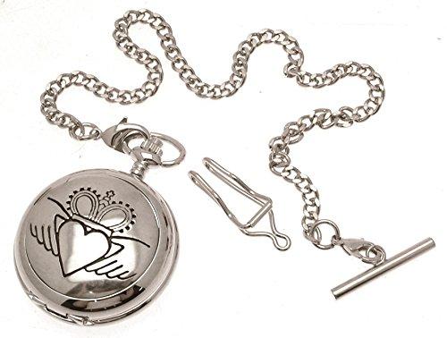Gravur enthalten aus Zinn am Claddagh Design 23 Perlmutt Quarz Taschenuhr