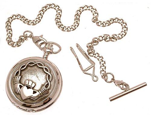 Gravur enthalten aus Zinn am Claddagh Design 61 Perlmutt Quarz Taschenuhr