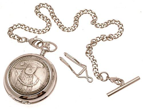 Gravur enthalten aus Zinn am Henry VIII Design 11 Perlmutt Quarz Taschenuhr