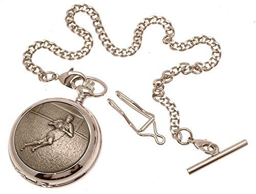 Gravur enthalten aus Zinn am Rugby Design 26 perlmutt Quarz Taschenuhr