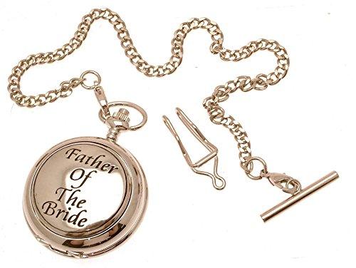 Gravur enthalten aus Zinn am Vater der Braut Design 50 Perlmutt Quarz Taschenuhr