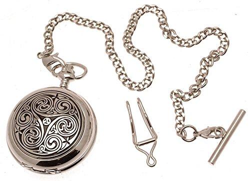 Gravur enthalten aus Zinn am Swirl Design 1 Perlmutt Quarz Taschenuhr