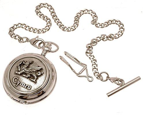Gravur enthalten aus Zinn am CYMRU Drache Design 12 Perlmutt Quarz Taschenuhr