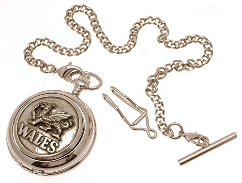 Gravur enthalten aus Zinn am Wales Drache Design 14 Perlmutt Quarz Taschenuhr