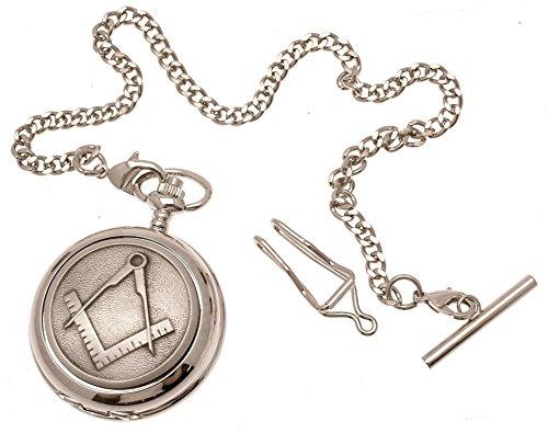 Gravur enthalten aus Zinn am Freimaurer Design 37 Perlmutt Quarz Taschenuhr
