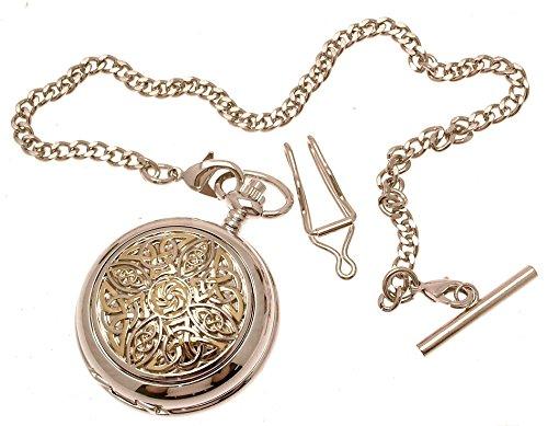 Gravur enthalten aus Zinn am Zwei Ton Design Keltischer Knoten 8 Perlmutt Quarz Taschenuhr