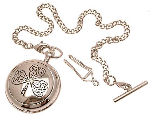 Gravur enthalten aus Zinn am Keltisches Blatt Design 22 perlmutt Quarz Taschenuhr