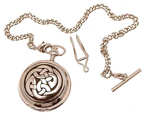 Gravur enthalten aus Zinn am Lughs Knoten Design 5 Perlmutt Quarz Taschenuhr