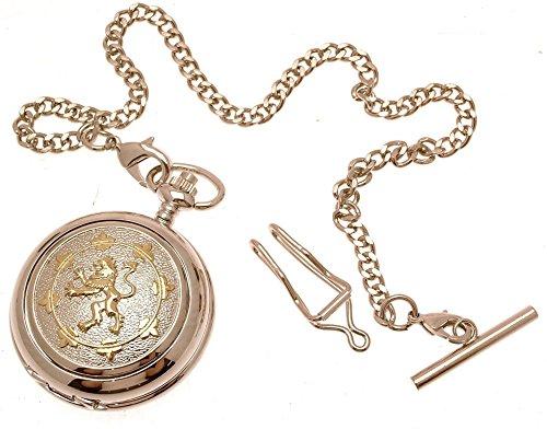 Gravur enthalten aus Zinn am Zwei Ton Rampant Loewe Design 19 Perlmutt Quarz Taschenuhr