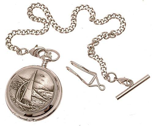 Gravur enthalten aus Zinn am sailing Design 28 perlmutt Quarz Taschenuhr