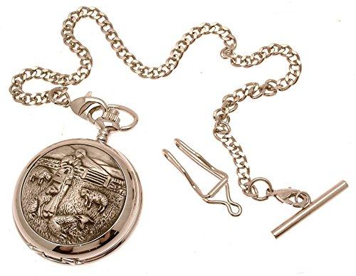 Gravur enthalten aus Zinn am Schaeferhund Design 34 Perlmutt Quarz Taschenuhr