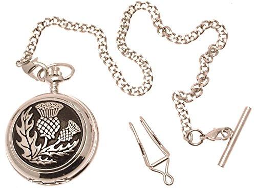 Gravur enthalten aus Zinn am Schottische Distel Perlmutt Quarz Taschenuhr