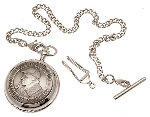 Gravur enthalten aus Zinn am Sherlock Holmes Design 40 perlmutt Quarz Taschenuhr