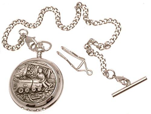 Gravur enthalten Miners Taschenuhr Zinn am Perlmutt Quarz Mechanismus Design 67