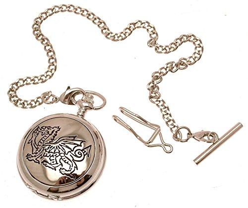 Gravur enthalten aus Zinn am Gravur Walisischer Drache Design 17 Perlmutt Quarz Taschenuhr