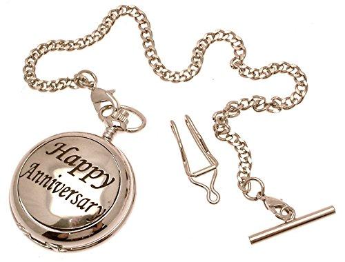 Massives Zinn am Happy Anniversary Design 54 Perlmutt Quarz Taschenuhr