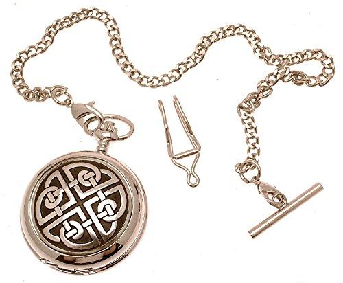 Massives Zinn Design am Knoten quadratisch 2 Perlmutt Quarz Taschenuhr