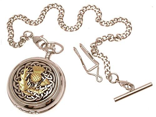 Massives Zinn am Zwei Klang Keltischer Knoten mit Distel Design 60 Perlmutt Quarz Taschenuhr