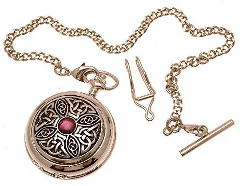 Massives Zinn am Keltischer Knoten mit Stein Design 7 Perlmutt Quarz Taschenuhr