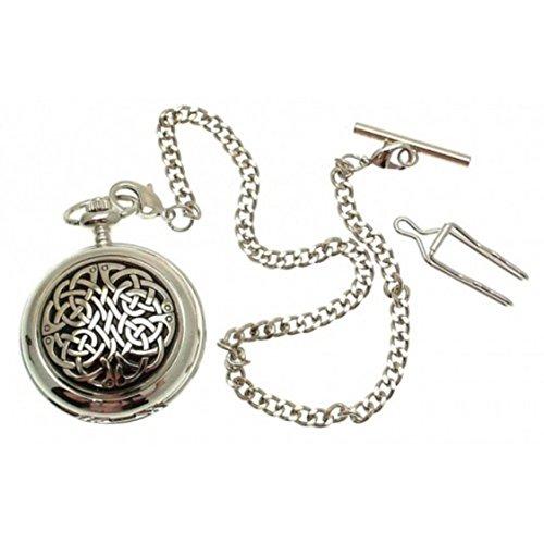 Massives Zinn keltischer Knoten am Perlmutt Quarz Taschenuhr