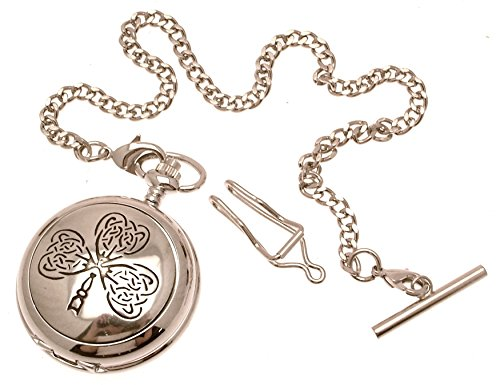 Massives Zinn am Keltisches Blatt Design 22 perlmutt Quarz Taschenuhr