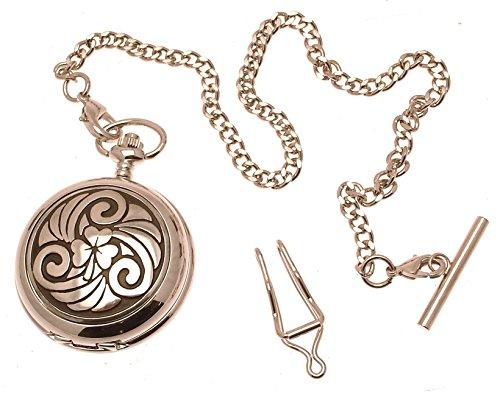 Massives Zinn am Keltisches Shamrock Design Perlmutt Quarz Taschenuhr