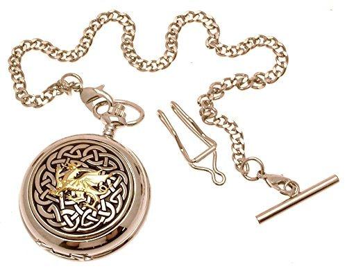 Taschenuhr Massives Zinn Zweifarbig Motiv Keltischer Knoten mit Drache Design 59 Perlmutt Zifferblatt Quarz Taschenuhr