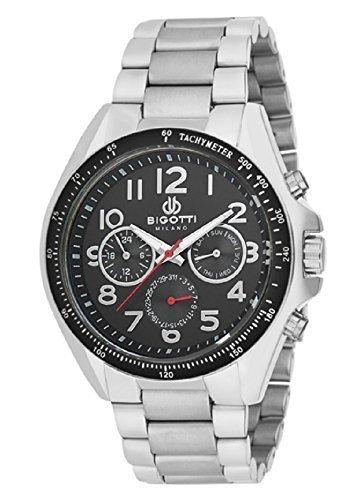 bigotti Milano bgt07018e Gents Edelstahl schwarz Multidial Datum Armbanduhr